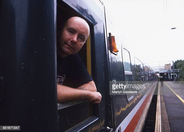Scottish author Irvine Welsh portrait on an Intercity train London United Kingdom 1995