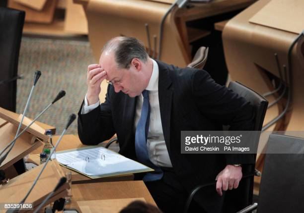 Scottish Cabinet Secretary for Finance John Swinney during First Ministers Questions at the Scottish parliament in Edinburgh