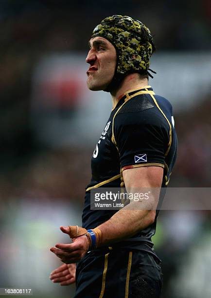 Scottish Captain Kelly Brown encourages his team during the RBS Six Nations match between France and Scotland at Stade de France on March 16 2013 in...