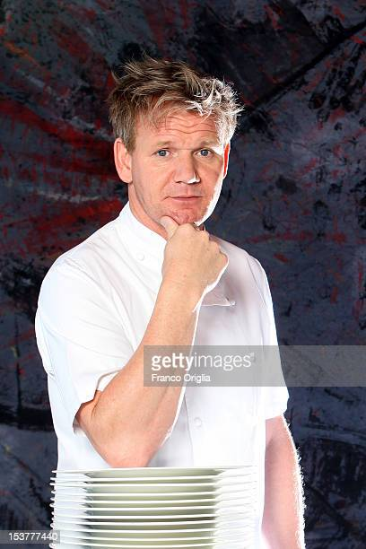 Scottish chef Gordon Ramsay poses at the Castel Monastero Resort on July 6 2012 in Castel Monastero Siena Italy