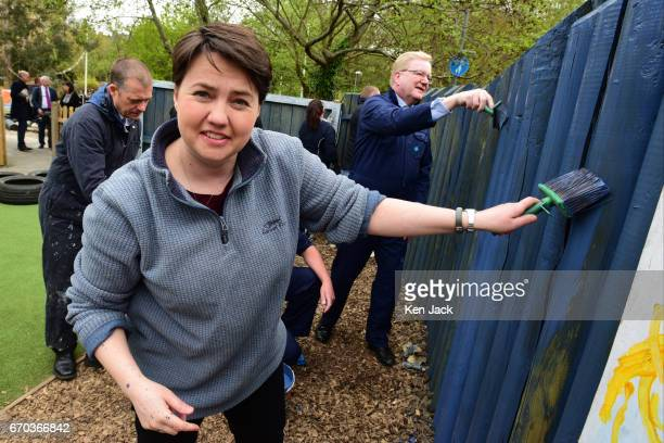 Scottish Conservative leader Ruth Davidson and Conservative MSPs join volunteers painting a fence at The Yard Adventure Centre for children with...