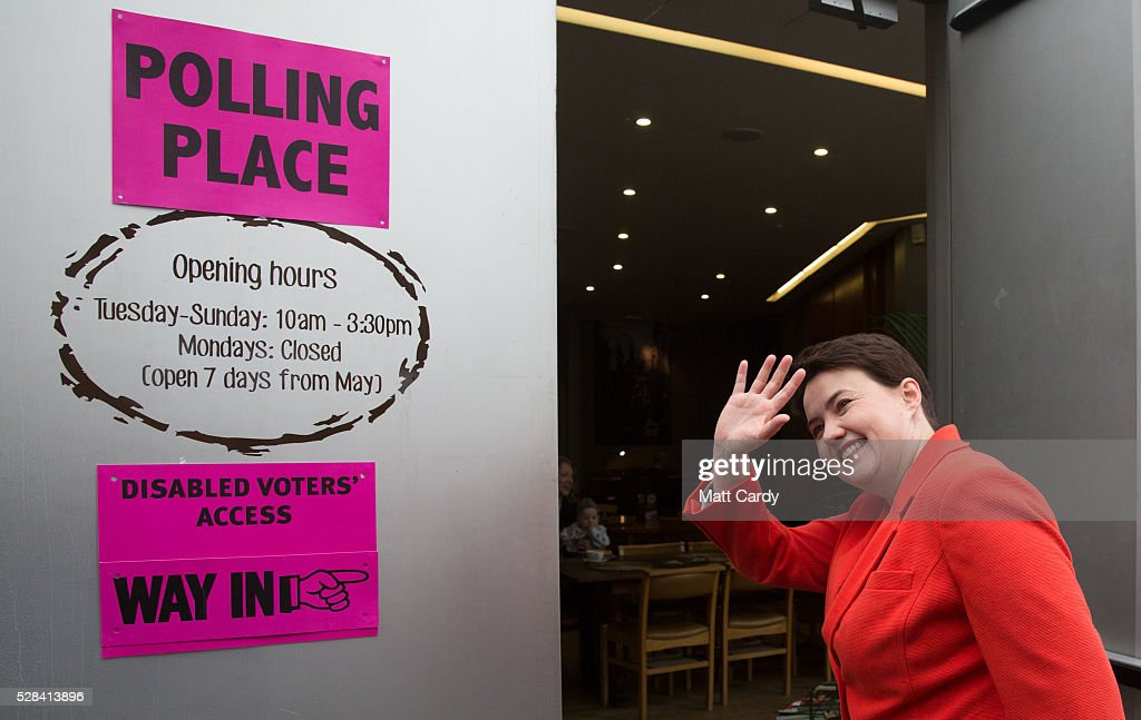 Scottish Conservative Leader Ruth Davidson arrives at St Mary's Parish Church to vote in the Scottish Parliament elections on May 5, 2016 in Edinburgh, Scotland. Today, dubbed 'Super Thursday', sees the British public vote in countrywide elections to choose members for the Scottish Parliament, the Welsh Assembly, the Northern Ireland Assembly, Local Councils, a new London Mayor and Police and Crime Commissioners. There are around 45 million registered voters in the UK and polling stations open from 7am until 10pm.