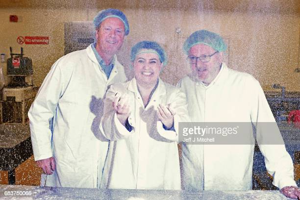 Scottish Conservative leader Ruth Davidson campaigns with local candidate Allister Jack and David Mundell MP at Express Bakery on May 16 2017 in...