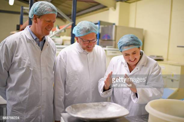 Scottish Conservative leader Ruth Davidson campaigns with local candidate Allister Jack and David Mundell MP at Express Bakery on May 17 2017 in...