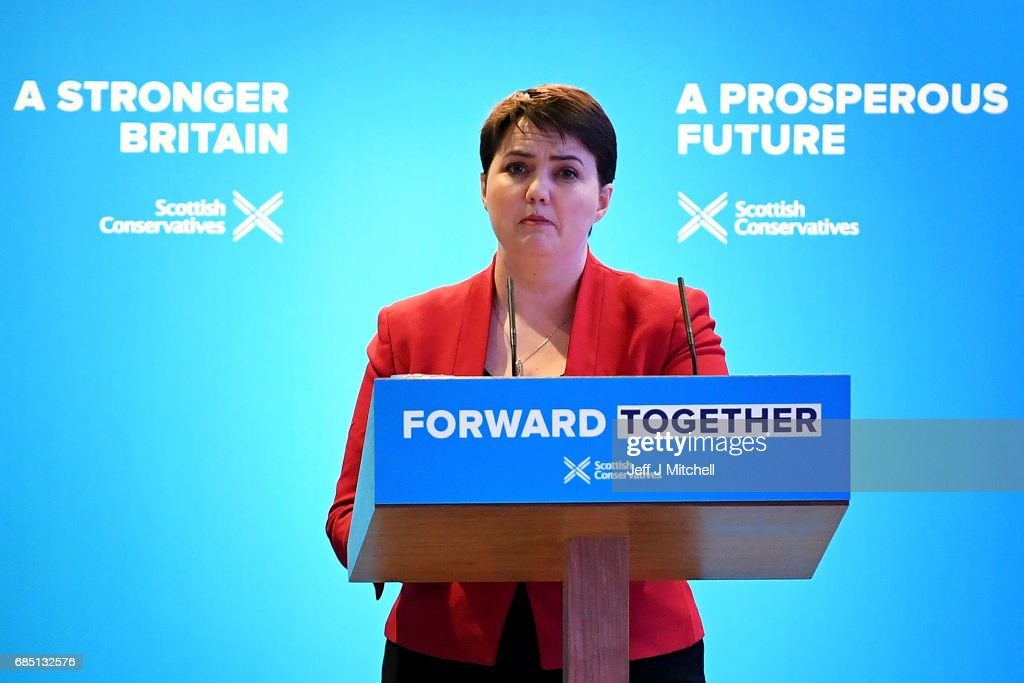 Scottish Conservative leader Ruth Davidson gives a speech as she launches the Scottish manifesto on May 19, 2017 in Edinburgh, Scotland. The Scottish Conservative manifesto includes commitments to the Borderlands Growth Deal and protecting farming income as well as support for remote Island wind energy projects and North Sea industry support. The British Prime Minister, Theresa May, supported the manifesto with a visit via the Conservative campaign bus.