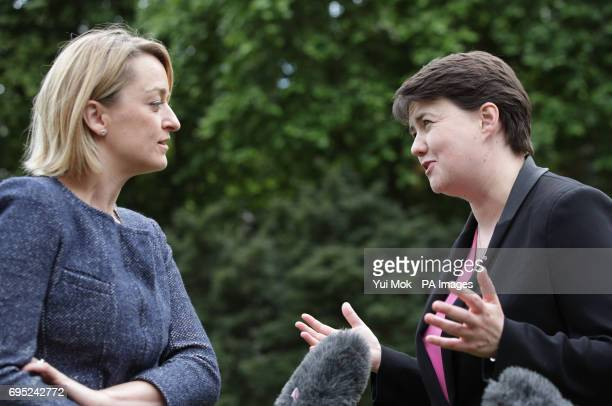 Scottish Conservative leader Ruth Davidson is interviewed by BBC Political Editor Laura Kuenssberg at Victoria Tower Gardens in Westminster London