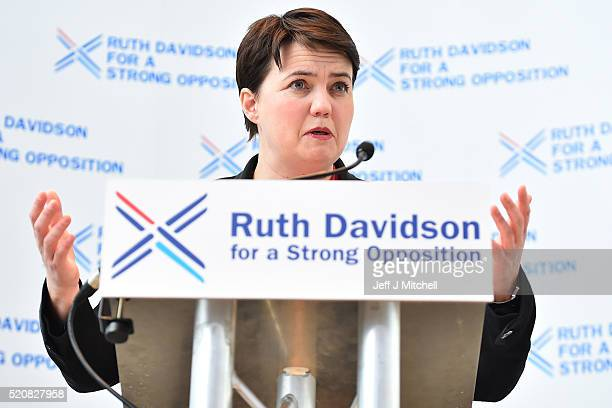 Scottish Conservative Leader Ruth Davidson launches the partys Holyrood Election Manifesto on April 13 2016 in Glasgow Scotland Their manifesto...