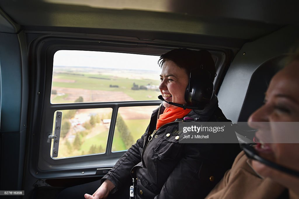 Scottish Conservative leader Ruth Davidson looks out the window on board a helicopter during a coast-to-coast tour as campaigning continues for the Holyrood election on May 3, 2016 in Keith, United Kingdom. As campaigning for the Holyrood election enters its last forty eight hours, recent polls suggest the Conservatives are virtually neck-and-neck with Labour in the race to be the main opposition party in Scotland.