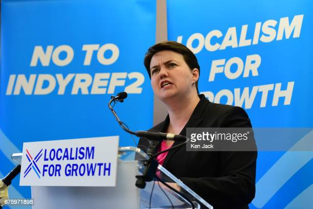Scottish Conservative leader Ruth Davidson makes a campaign speech on the party's local election policies on May 2 2017 in Edinburgh Scotland...