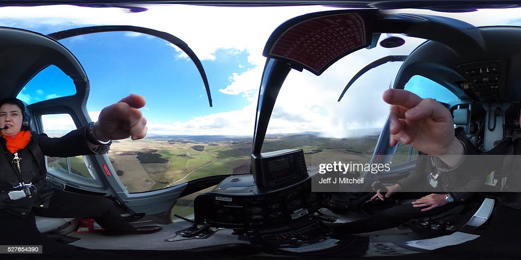 Scottish Conservative leader Ruth Davidson (L) on board a helicopter during a coast-to-coast tour as campaigning continues for the Holyrood election on May 3, 2016 in Oban, United Kingdom. As campaigning for the Holyrood election enters its last forty eight hours, recent polls suggest the Conservatives are virtually neck-and-neck with Labour in the race to be the main opposition party in Scotland.