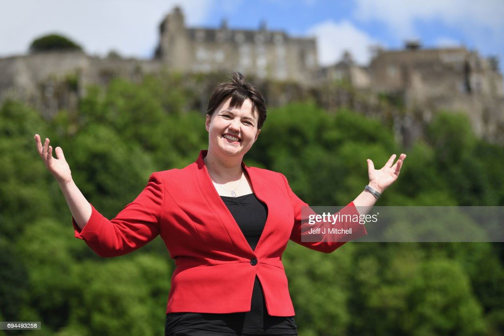 Scottish Conservative leader Ruth Davidson poses following meeting with her newly elected members of parliament with the backdrop of Stilling Castle on June 10, 2017 in Stirling, Scotland. The Scottish Conservative leader Ruth Davidson has said she is concerned about gay rights should prime minister Theresa May do a deal with the DUP.