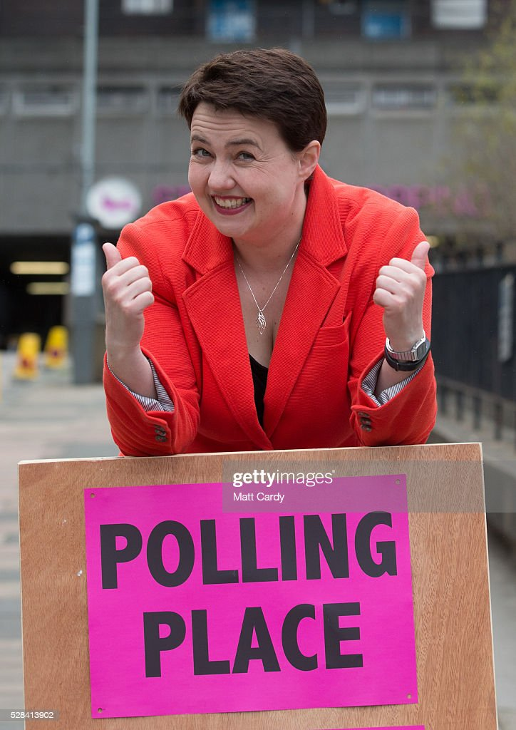 Scottish Conservative Leader Ruth Davidson poses for a picture outside St Mary's Parish Church after voting in the Scottish Parliament elections on May 5, 2016 in Edinburgh, Scotland. Today, dubbed 'Super Thursday', sees the British public vote in countrywide elections to choose members for the Scottish Parliament, the Welsh Assembly, the Northern Ireland Assembly, Local Councils, a new London Mayor and Police and Crime Commissioners. There are around 45 million registered voters in the UK and polling stations open from 7am until 10pm.
