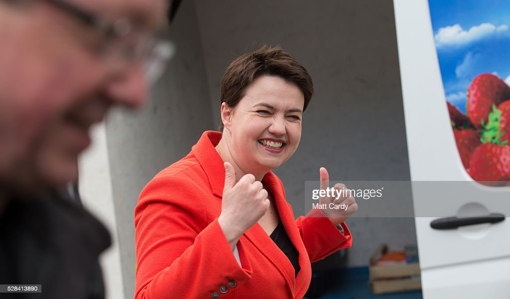 Scottish Conservative Leader Ruth Davidson reacts outside St Mary's Parish Church after voting in the Scottish Parliament elections on May 5, 2016 in Edinburgh, Scotland. Today, dubbed 'Super Thursday', sees the British public vote in countrywide elections to choose members for the Scottish Parliament, the Welsh Assembly, the Northern Ireland Assembly, Local Councils, a new London Mayor and Police and Crime Commissioners. There are around 45 million registered voters in the UK and polling stations open from 7am until 10pm.
