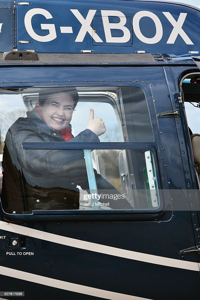 Scottish Conservative leader Ruth Davidson reacts while on board a helicopter during a coast-to-coast tour as campaigning continues for the Holyrood election on May 3, 2016 in Keith, United Kingdom. As campaigning for the Holyrood election enters its last forty eight hours, recent polls suggest the Conservatives are virtually neck-and-neck with Labour in the race to be the main opposition party in Scotland.