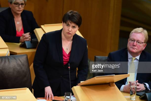 Scottish Conservative leader Ruth Davidson speaking in a debate in the Scottish Parliament on welfare cuts and the socalled 'Rape Clause' in child...