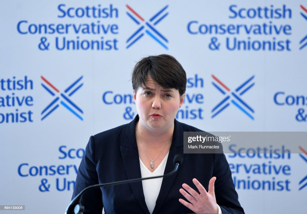 Scottish Conservative Leader Ruth Davidson speaks at a press conference after the Conservative party gained 12 seats in Scotland during the UK Parliamentary Election on June 9, 2017 in Edinburgh, Scotland. After a snap election was called by Prime Minister Theresa May the United Kingdom went to the polls yesterday. The closely fought election has failed to return a clear overall majority winner and Theresa May has formed a minority Government with the support of Northern Ireland's Democratic Unionist Party.