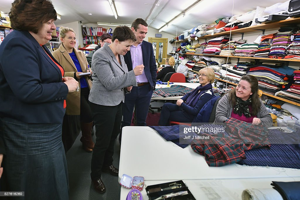 Scottish Conservative leader Ruth Davidson speaks to staff at Keith Kilt and Textile Centre during a coast-to-coast tour by helicopter as campaigning continues for the Holyrood election on May 3, 2016 in Keith, United Kingdom. As campaigning for the Holyrood election enters its last forty eight hours, recent polls suggest the Conservatives are virtually neck-and-neck with Labour in the race to be the main opposition party in Scotland.