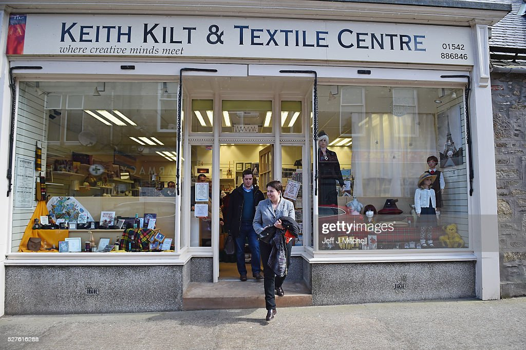Scottish Conservative leader <a gi-track='captionPersonalityLinkClicked' href=/galleries/search?phrase=Ruth+Davidson&family=editorial&specificpeople=8602778 ng-click='$event.stopPropagation()'>Ruth Davidson</a> speaks to staff at Keith Kilt and Textile Centre during a coast-to-coast tour by helicopter as campaigning continues for the Holyrood election on May 3, 2016 in Keith, United Kingdom. As campaigning for the Holyrood election enters its last forty eight hours, recent polls suggest the Conservatives are virtually neck-and-neck with Labour in the race to be the main opposition party in Scotland.