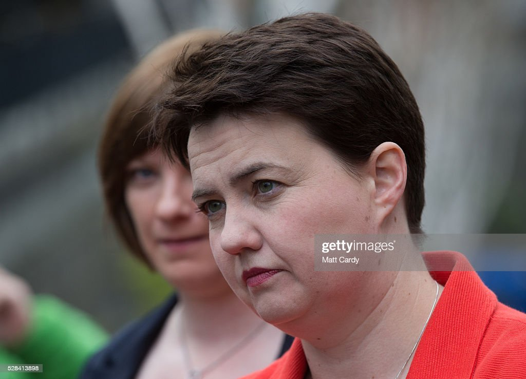 Scottish Conservative Leader Ruth Davidson speaks with media outside St Mary's Parish Church after voting in the Scottish Parliament elections on May 5, 2016 in Edinburgh, Scotland. Today, dubbed 'Super Thursday', sees the British public vote in countrywide elections to choose members for the Scottish Parliament, the Welsh Assembly, the Northern Ireland Assembly, Local Councils, a new London Mayor and Police and Crime Commissioners. There are around 45 million registered voters in the UK and polling stations open from 7am until 10pm.