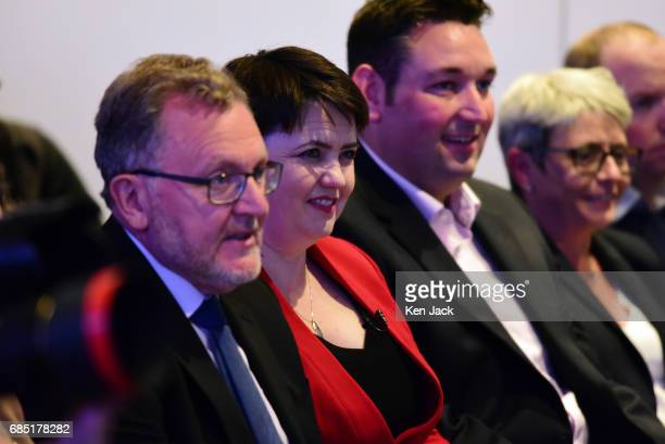 Scottish Conservative Party leader Ruth Davidson Scottish Secretary David Mundell and Miles Briggs MSP listen to Prime Minister Theresa May speaking...
