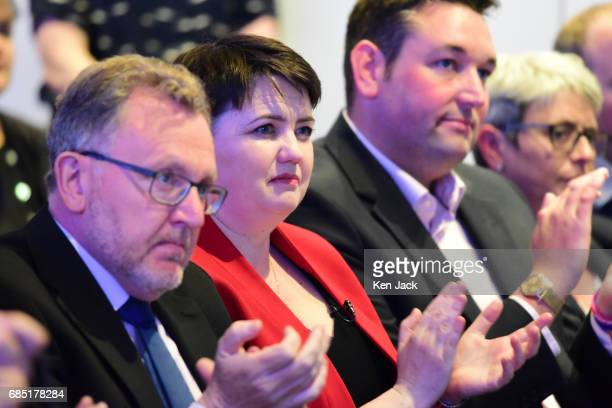 Scottish Conservative Party leader Ruth Davidson Scottish Secretary David Mundell and Miles Briggs MSP applaud Prime Minister Theresa May as she...
