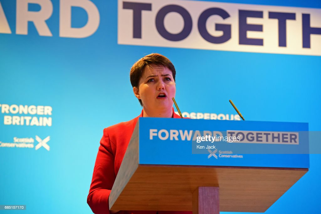 Scottish Conservative Party leader Ruth Davidson speaking at the launch of the party's general election manifesto, on May 19, 2017 in Edinburgh, Scotland. The Scottish Conservative manifesto includes commitments to the Borderlands Growth Deal and protecting farming income as well as support for remote Island wind energy projects and North Sea industry support. The British Prime Minister, Theresa May, supported the manifesto with a visit via the Conservative campaign bus.