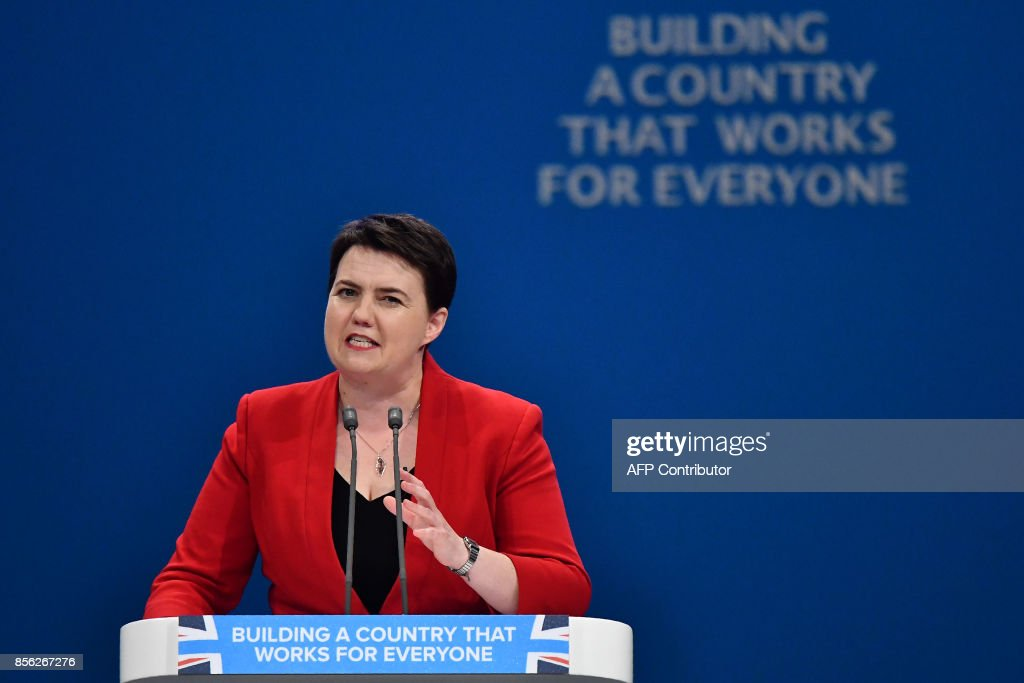 Scottish Conservatives leader, Ruth Davidson delivers a speech on the first day of the Conservative Party annual conference at the Manchester Central Convention Centre in Manchester on October 1, 2017. British Prime Minister Theresa May's Conservative Party gathers on October 1, 2017, for its annual conference, dominated by questions about her leadership and splits on Brexit. / AFP PHOTO / Ben STANSALL
