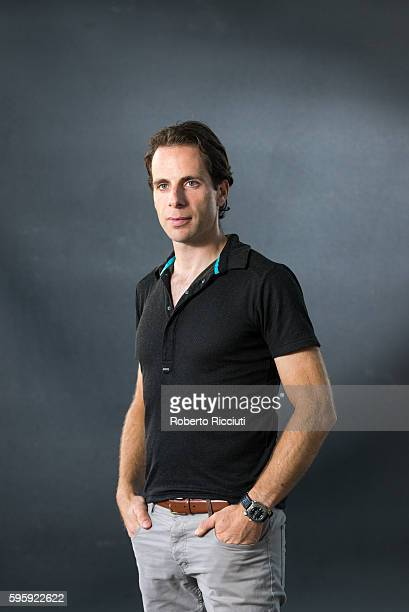 Scottish cyclist adventurer broadcaster documentary maker and author Mark Beaumont attends a photocall at Edinburgh International Book Festival at...