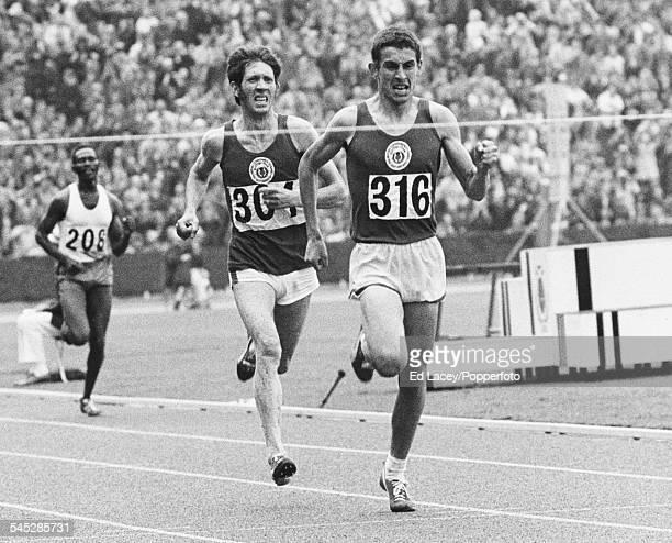 Scottish distance runner Ian Stewart wins the 5000m final ahead of Ian McCafferty of Scotland and Kip Keino of Kenya at the Commonwealth Games...