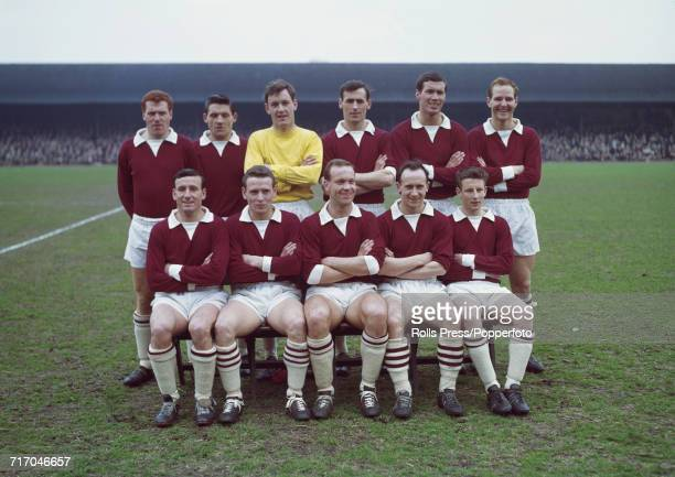 Scottish Division One team Heart of Midlothian FC 196364 squad members pictured together at Tynecastle Stadium prior to their match against Celtic FC...