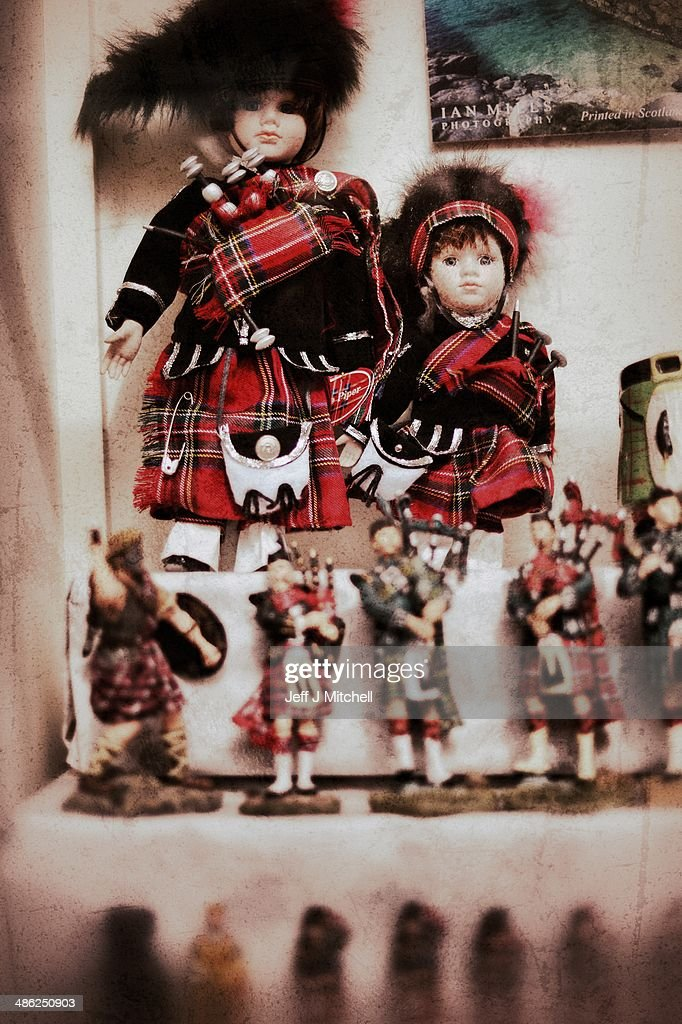Scottish dolls for sale in a souvenir shop on the Royal Mile on April 23, 2014 in Edinburgh, Scotland. A referendum on whether Scotland should be an independent country will take place on September 18, 2014.