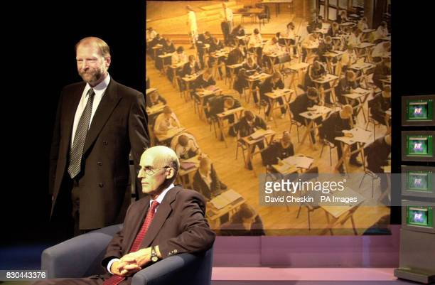 Scottish Education Minister Sam Galbraith and Bill Morton Chief Executive of the Scottish Qualifications Authorityface an audience of pupils parents...