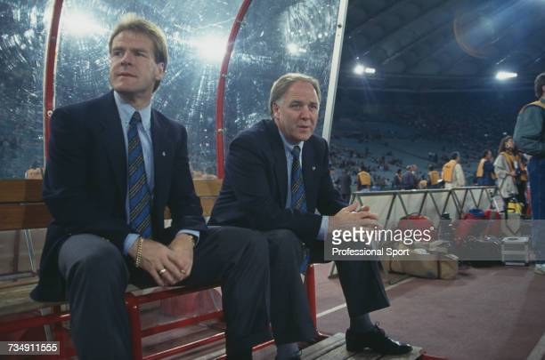 Scottish ex footballer and manager of the Scotland national team Craig Brown pictured on right with fellow Scottish football manager Murdo MacLeod as...