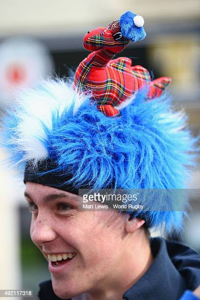 Scottish fan wears a Nessie hat prior to the 2015 Rugby World Cup Pool B match between Samoa and Scotland at St James' Park on October 10 2015 in...