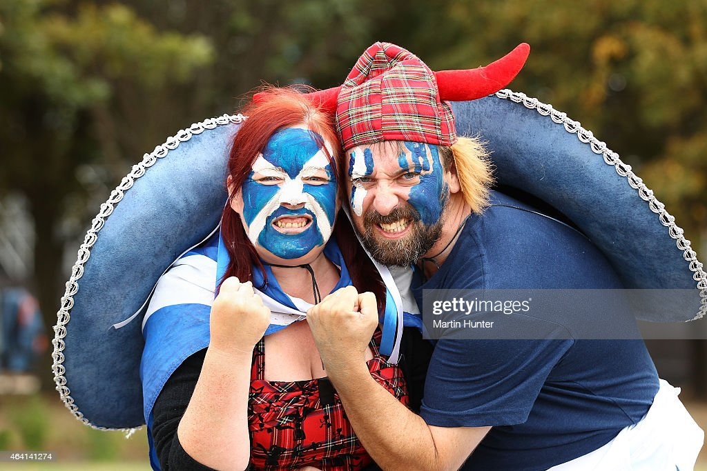 Scottish fans show their support prior to the start of the 2015 ICC Cricket World Cup match between England and Scotland at Hagley Oval on February...
