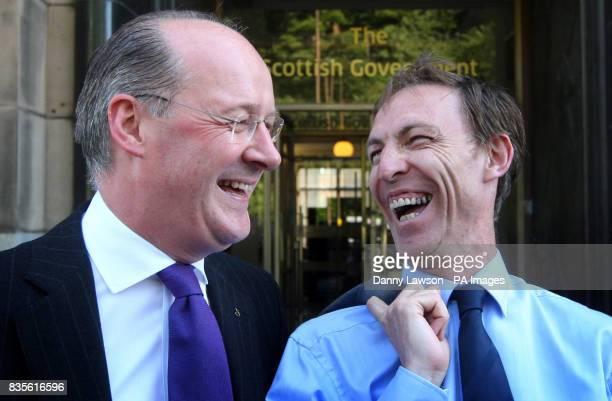 Scottish Finance Secretary John Swinney and Scottish Secretary Jim Murphy pictured following a meeting at St Andrews House in Edinburgh