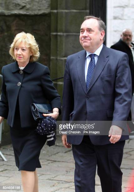 Scottish First Minister Alex Salmond arrives with his wife Moira at the Piper Alpha disaster 20th anniversary memorial service at the Kirk of St...