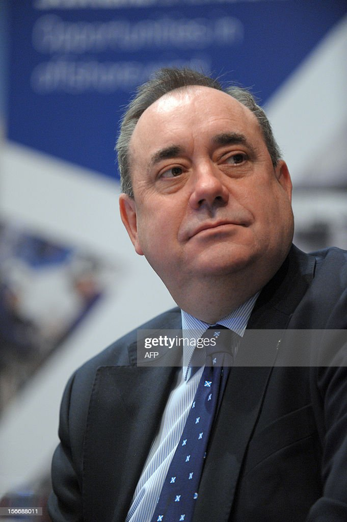Scottish First Minister Alex Salmond listens to French energy giant Areva head Luc Oursel during a press conference on November 19, 2012 . Areva group and Scottish Enterprise signed a memorandum of understanding on industrial site development for the manufacture of wind turbines in East Scotland.