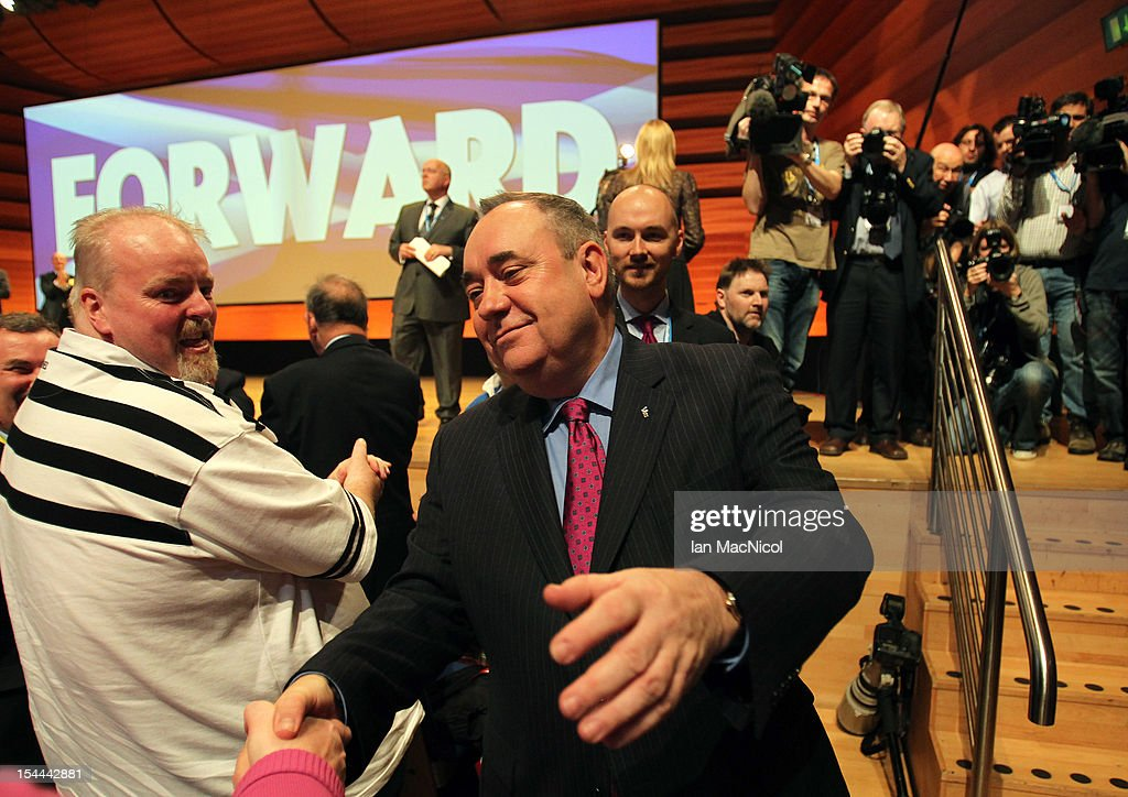 Scottish First Minister <a gi-track='captionPersonalityLinkClicked' href=/galleries/search?phrase=Alex+Salmond&family=editorial&specificpeople=857688 ng-click='$event.stopPropagation()'>Alex Salmond</a> meets his supporters after he spoke at The SNP Annual Conference on October 20, 2012 in Perth, Scotland. The First Minister delivered his key note speech today after signing a deal with David Cameron earlier in the week for Scotland's referendum to take place in the autumn of 2014.