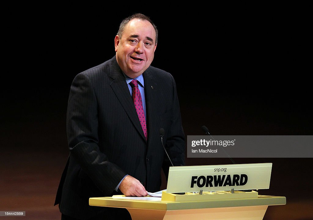 Scottish First Minister <a gi-track='captionPersonalityLinkClicked' href=/galleries/search?phrase=Alex+Salmond&family=editorial&specificpeople=857688 ng-click='$event.stopPropagation()'>Alex Salmond</a> speaks at The SNP Annual Conference on October 20, 2012 in Perth, Scotland.
