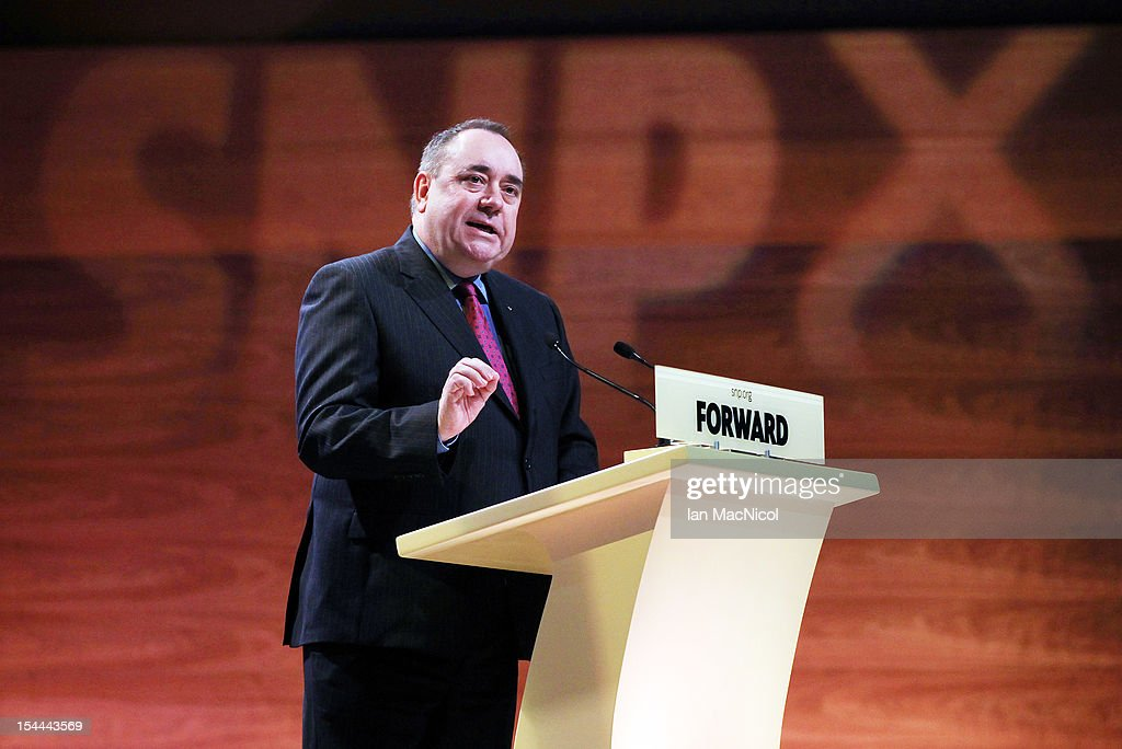 Scottish First Minister <a gi-track='captionPersonalityLinkClicked' href=/galleries/search?phrase=Alex+Salmond&family=editorial&specificpeople=857688 ng-click='$event.stopPropagation()'>Alex Salmond</a> speaks at the SNP annual conference on October 20, 2012 in Perth, Scotland. The First Minister delivered his key note speech today after signing a deal with David Cameron earlier in the week for Scotland's referendum to take place in the autumn of 2014.