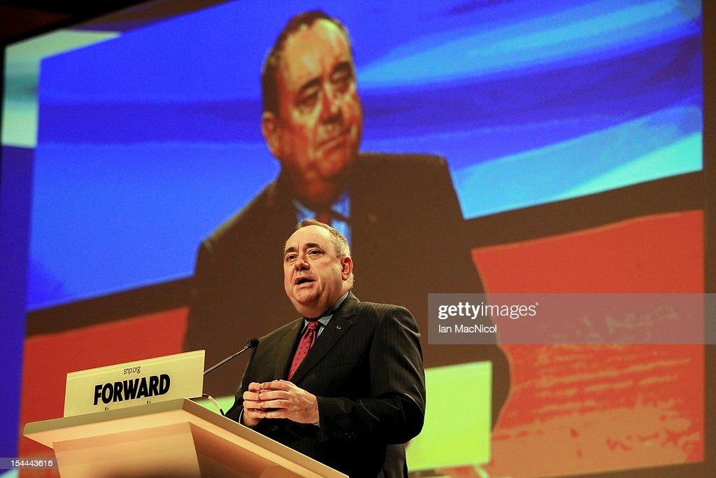 Scottish First Minister Alex Salmond speaks at the SNP annual conference on October 20, 2012 in Perth, Scotland. The First Minister delivered his key note speech today after signing a deal with David Cameron earlier in the week for Scotland's referendum to take place in the autumn of 2014.