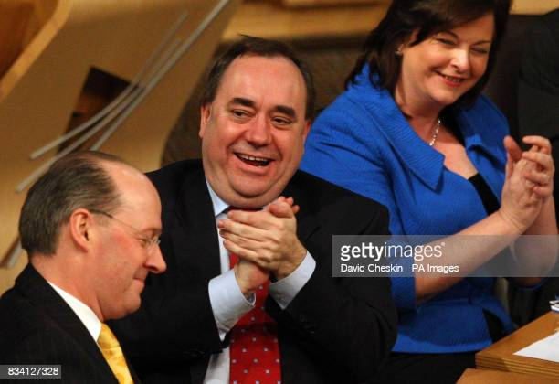 Scottish First Minister Alex Salmond with Finance Minister John Swinney and Fiona Hyslop Education Minister during the debate on the budget in...