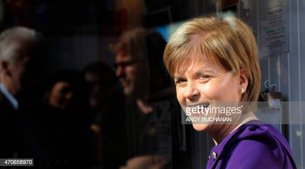 Scottish First Minister and SNP leader Nicola Sturgeon joins customers in a cafe as she campaigns for the UK general election in the Portobello area...