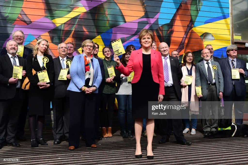 Scottish First Minister and SNP leader Nicola Sturgeon pictured with local party candidates as she launches the party's manifesto for the local government elections campaign at WHALE community arts centre, on April 21, 2017 in Edinburgh, Scotland. Local elections are scheduled to take place on Thursday May 4 across all local authorities.