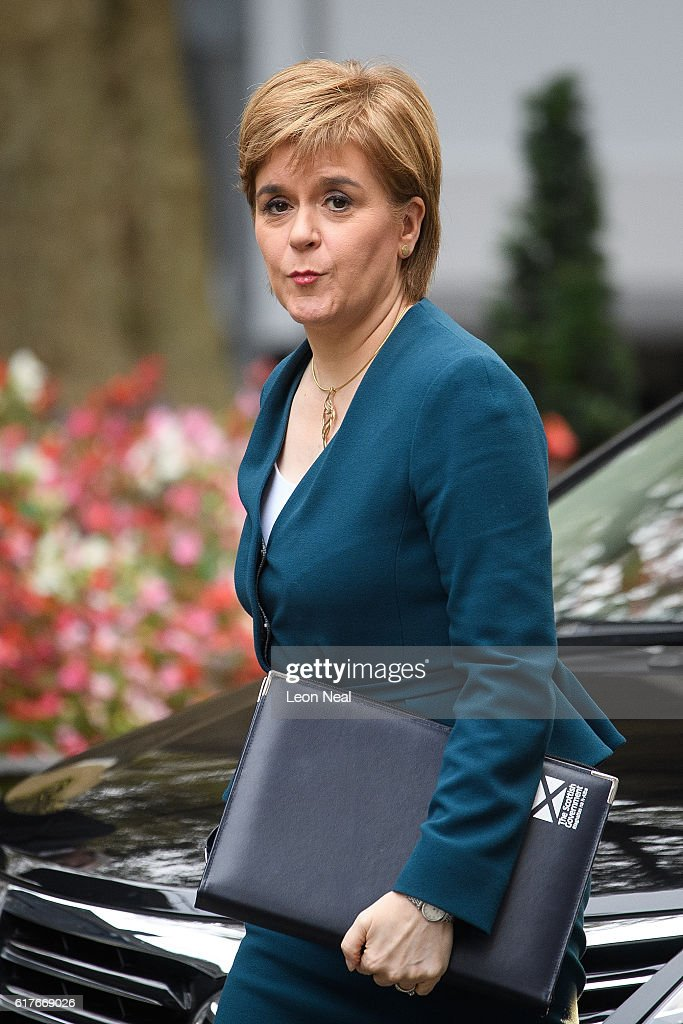 Scottish First Minister Nicola Sturgeon arrives ahead of a meeting between British Prime Minister Theresa May and the leaders of the three devolved governments at 10 Downing Street on October 24, 2016 in London, England. The Scottish and Welsh leaders want the devolved legislatures and Parliament to all have a vote on Brexit Secretary David Davis's approach.