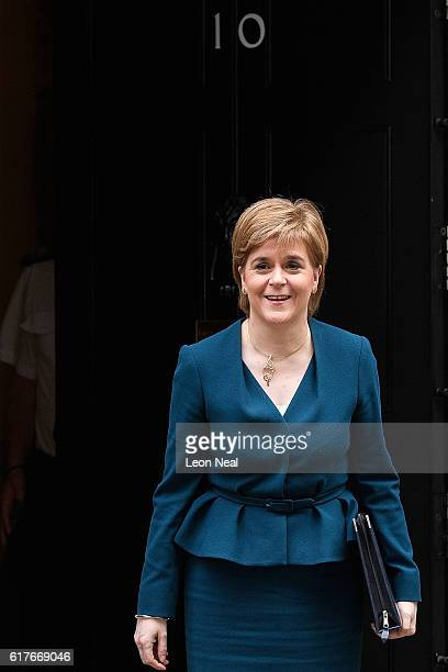 Scottish First Minister Nicola Sturgeon arrives ahead of a meeting between British Prime Minister Theresa May and the leaders of the three devolved...