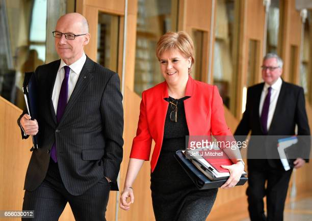 Scottish First Minister Nicola Sturgeon arrives with deputy John Swinney at Holyroodhouse on March 21 2017 in Edinburgh Scotland Scotland's First...