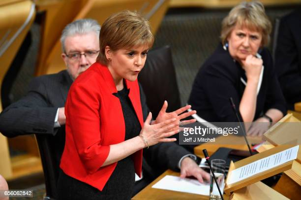 Scottish First Minister Nicola Sturgeon attends the debate on a second independence referendum at the Scottish Parliament on March 21 2017 in...