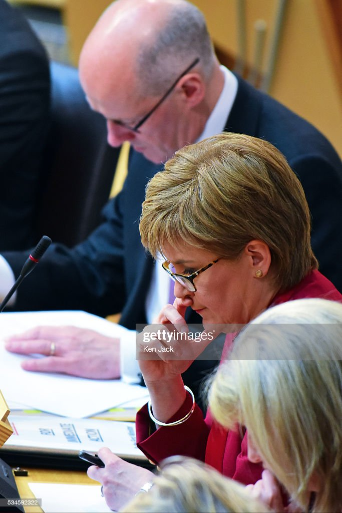 Scottish First Minister Nicola Sturgeon looks thoughtful after making a statement to the Scottish Parliament on her Government's policy programme for the next five years,